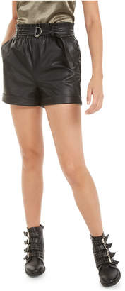 Bar III Faux-Leather Paper-Bag Waist Shorts
