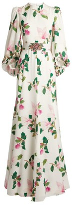 Andrew Gn Floral Belted Gown