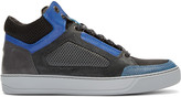 Lanvin Tricolor Leather & Mesh Mid-Top Sneakers