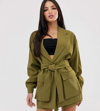 Asos Tall DESIGN Tall safari suit blazer-Green