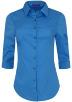 Iron Puppy Womens 3/4 Sleeve Skinny Button Down Collared Shirts With Stretch XXX-Large