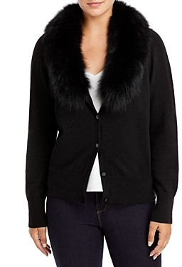 C by Bloomingdale's Fox Fur Collar Cashmere Cardigan - 100% Exclusive