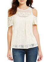 Soulmates Lace Cold-Shoulder Illusion-Yoke Top