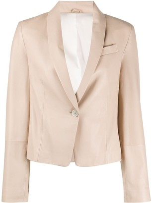 Brunello Cucinelli Single-Buttoned Leather Blazer