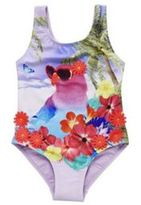 F&F Tropical Bird and 3D Flowers Swimsuit, Toddler Girl's