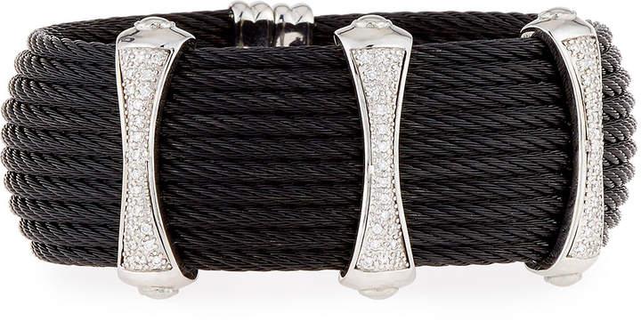 Alor Noir 10-Row Cable Cuff Bracelet w/ Pave Diamond Stations, Black