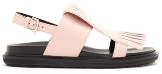 Marni Fussbett Fringed Leather Sandals - Womens - Pink
