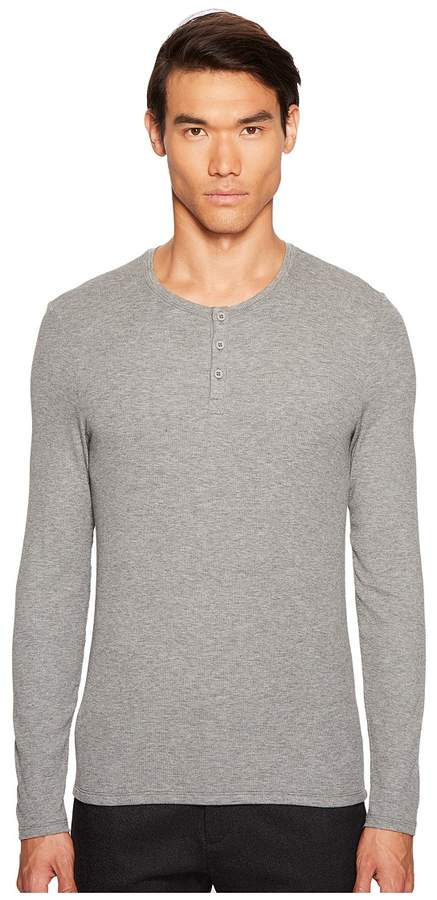 ATM Anthony Thomas Melillo Long Sleeve Rib Henley Men's Clothing