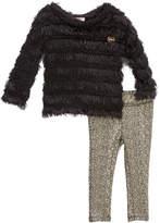 Juicy Couture Black Ruffle Tunic & Metallic Leggings - Infant, Toddler & Girls