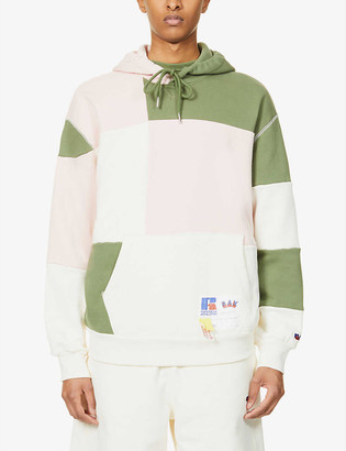 Russell Athletic Contrast-panel dropped-shoulder organic-cotton hoody