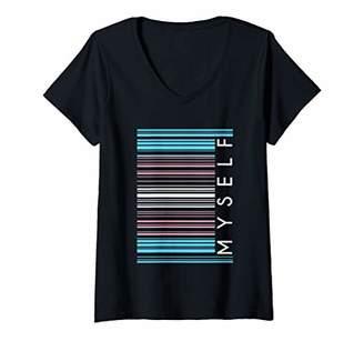 Justice Womens Myself Trans Barcode LGBTQ Social Human Rights V-Neck T-Shirt