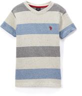 U.S. Polo Assn. Cobalt & Gray Stripe V-Neck Tee - Boys