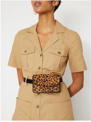 Warehouse Leopard Leather Belt Bag
