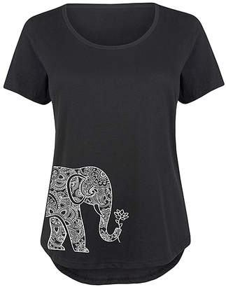 Instant Message Plus Women's Tee Shirts BLACK - Black Elephant Holding Lotus Scoop Neck Tee - Plus