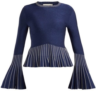 Jonathan Simkhai Metallic Pleated-knit Sweater - Navy Silver