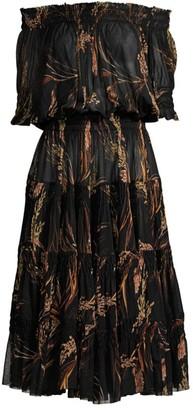 Norma Kamali Weed Print Off-The-Shoulder Midi Dress