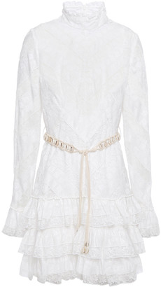 Zimmermann Belted Tiered Embroidered Voile And Lace Mini Dress