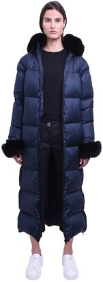 Mr & Mrs Italy Long Nylon Down Jacket W/fox Fur