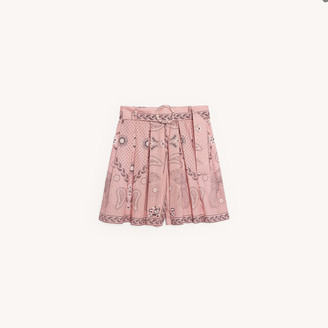 Sandro Linen and cotton printed shorts