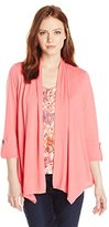 Notations Women's Petite 3/4 Sleeve Cozy Cardigan with Floral Lace Inset