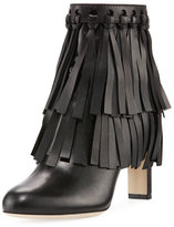 Jimmy Choo Mala Leather Fringe 85mm Bootie