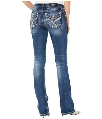 Miss Me Border Stitch Chloe Slim Boot Jeans in Dark Blue