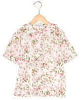 Rachel Riley Girls' Floral Print Short Sleeve Top