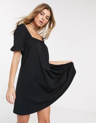 Asos Design DESIGN frill sleeve smock mini dress in black