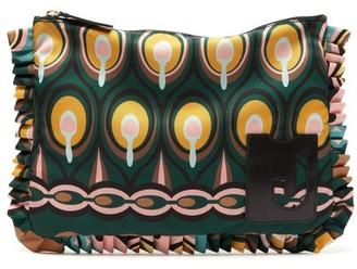 La DoubleJ Deluxe Rio-print Ruffle-trimmed Nylon Pouch - Green Multi