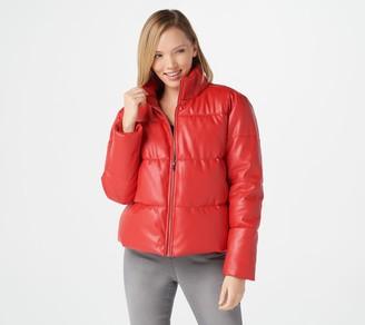 Du Jour Faux Leather Zip-Front Puffer Jacket