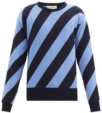 Marni Warning Striped Wool Sweater - Navy