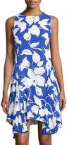 Julia Jordan Printed Sleeveless Godet Dress, Cobalt/Ivory