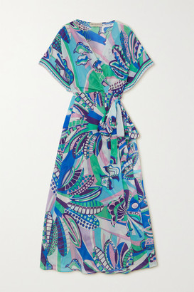 Emilio Pucci Printed Cotton And Silk-blend Maxi Wrap Dress - Blue