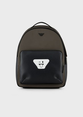Emporio Armani Nylon Backpack With Emoji Patch