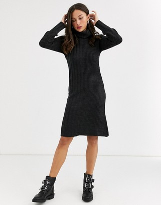 Qed London cowl neck jumper dress in charcoal