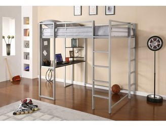 """Mack & Miloâ""""¢ Aime Loft Bed with Bookcase Mack & Miloa Size: Full, Bed Frame Color: Silver"""