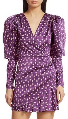 Rotate by Birger Christensen Aiken Floral Puff Sleeve Mini Dress