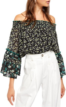 Free People Rose Valley Floral Off the Shoulder Blouse