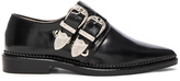 Toga Pulla Buckled Leather Oxfords in Black.