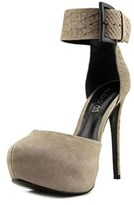 Aldo Galisa Women Open Toe Leather Gray Platform Heel.