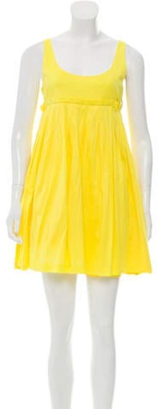 Fendi Sleeveless Scoop Neck Dress Yellow Sleeveless Scoop Neck Dress
