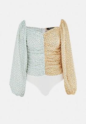 Missguided Cream Spliced Floral Ruched Seam Bodysuit