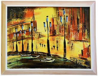 One Kings Lane Vintage Midcentury Europe Cityscape Oil Painting - orange/yellow/gold/red/multi