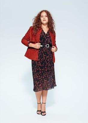 MANGO Violeta BY Fringe leather jacket red - S - Plus sizes