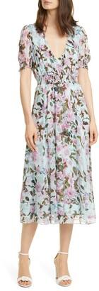 Diane von Furstenberg Palmer Floral Print Silk Midi Dress