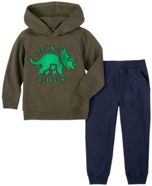 Kids Headquarters Toddler Boys 2-Piece Boys Dino Hooded Fleece Top with Fleece Pant Set