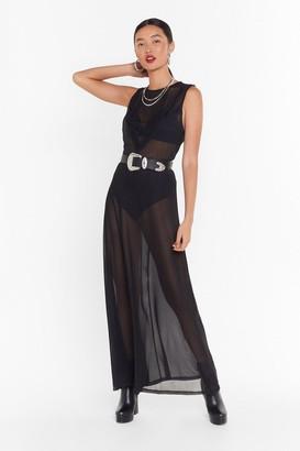 Nasty Gal Womens Always Sheer Mesh Maxi Dress - black - 4