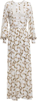 Sandro Arnold Crochet-trimmed Printed Crepe De Chine Maxi Dress