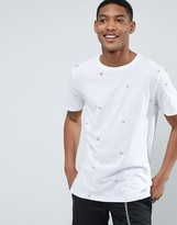 Pull&Bear T-Shirt With Mini Surf Print In White