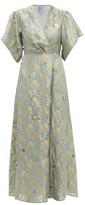 Thierry Colson Marieke Silk Floral-brocade Maxi Dress - Womens - Blue